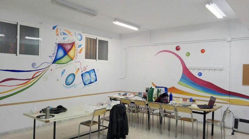 """Pintura Mural """"Proyecto Cometa""""en la """"Parroquia Nuestra Señora de la Paz""""Sala Jóvenes.Granada.2017 12"""