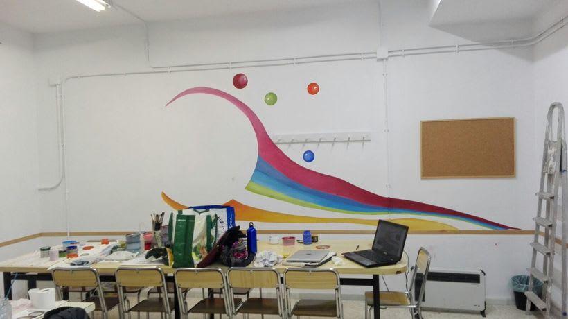 """Pintura Mural """"Proyecto Cometa""""en la """"Parroquia Nuestra Señora de la Paz""""Sala Jóvenes.Granada.2017 13"""
