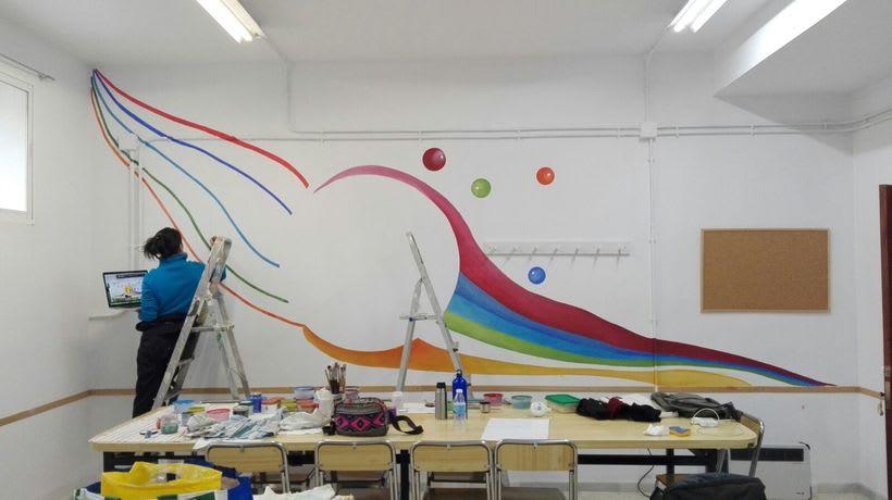 """Pintura Mural """"Proyecto Cometa""""en la """"Parroquia Nuestra Señora de la Paz""""Sala Jóvenes.Granada.2017 14"""