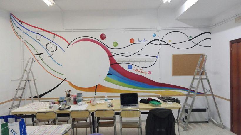 """Pintura Mural """"Proyecto Cometa""""en la """"Parroquia Nuestra Señora de la Paz""""Sala Jóvenes.Granada.2017 15"""