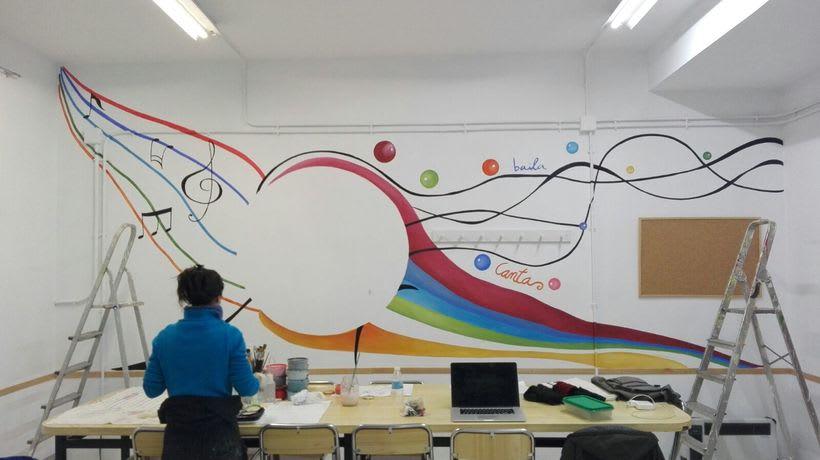 """Pintura Mural """"Proyecto Cometa""""en la """"Parroquia Nuestra Señora de la Paz""""Sala Jóvenes.Granada.2017 16"""