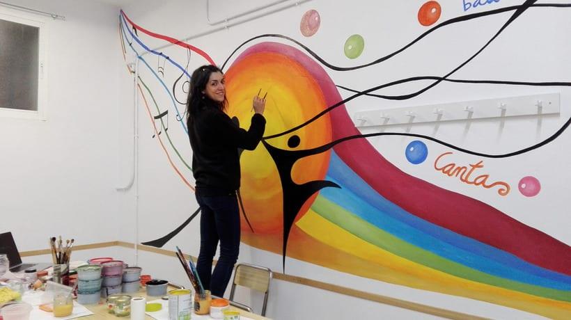 """Pintura Mural """"Proyecto Cometa""""en la """"Parroquia Nuestra Señora de la Paz""""Sala Jóvenes.Granada.2017 17"""