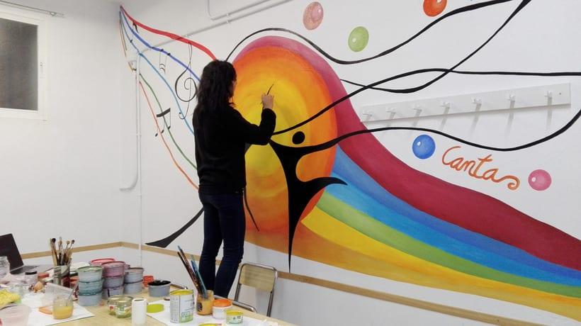 """Pintura Mural """"Proyecto Cometa""""en la """"Parroquia Nuestra Señora de la Paz""""Sala Jóvenes.Granada.2017 18"""