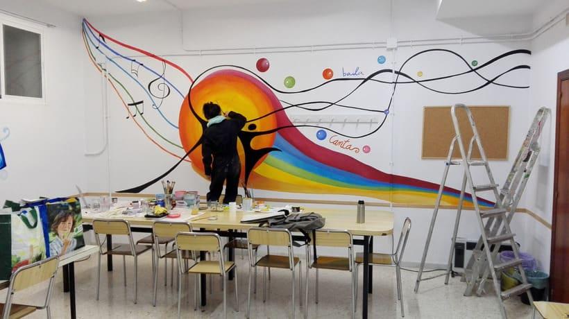 """Pintura Mural """"Proyecto Cometa""""en la """"Parroquia Nuestra Señora de la Paz""""Sala Jóvenes.Granada.2017 19"""