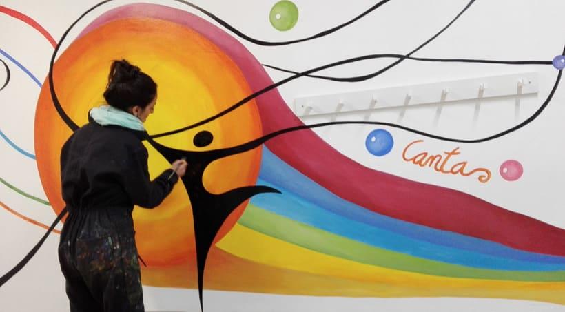 """Pintura Mural """"Proyecto Cometa""""en la """"Parroquia Nuestra Señora de la Paz""""Sala Jóvenes.Granada.2017 20"""