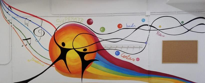 """Pintura Mural """"Proyecto Cometa""""en la """"Parroquia Nuestra Señora de la Paz""""Sala Jóvenes.Granada.2017 21"""