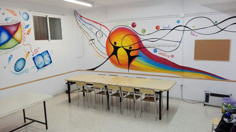 """Pintura Mural """"Proyecto Cometa""""en la """"Parroquia Nuestra Señora de la Paz""""Sala Jóvenes.Granada.2017 22"""