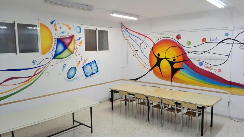 """Pintura Mural """"Proyecto Cometa""""en la """"Parroquia Nuestra Señora de la Paz""""Sala Jóvenes.Granada.2017 23"""
