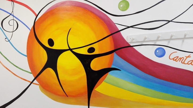 """Pintura Mural """"Proyecto Cometa""""en la """"Parroquia Nuestra Señora de la Paz""""Sala Jóvenes.Granada.2017 24"""