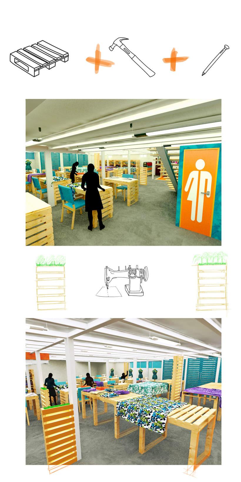 Diseño de Interiores Eco/ Fábrica de Ropa 1