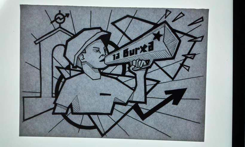 """Ilustración para periódico cultural-reivindicativo """"La Burxa"""", Barcelona. 10"""