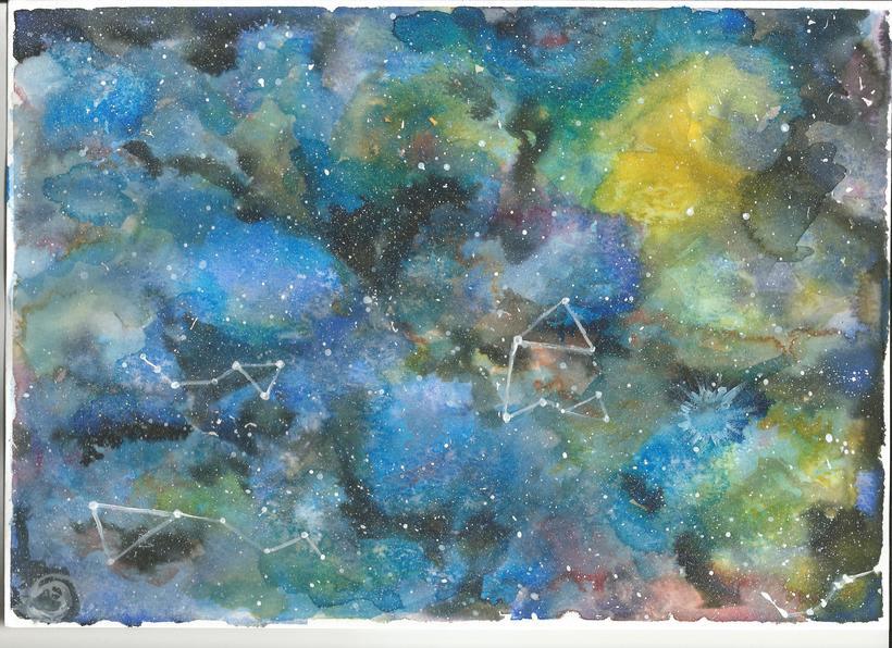 Nebulosa con acuarela experimental -1