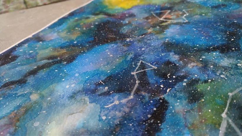 Nebulosa con acuarela experimental 0