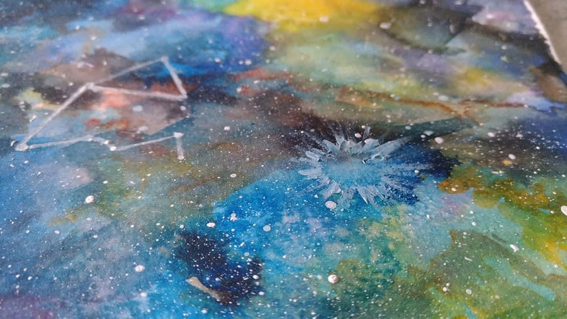 Nebulosa con acuarela experimental 1