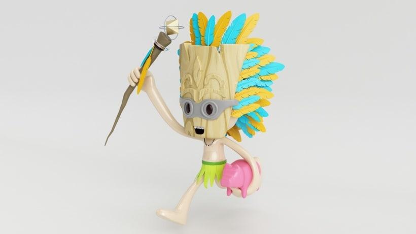 Tiki Man Diseño de personajes en Cinema 4D 1