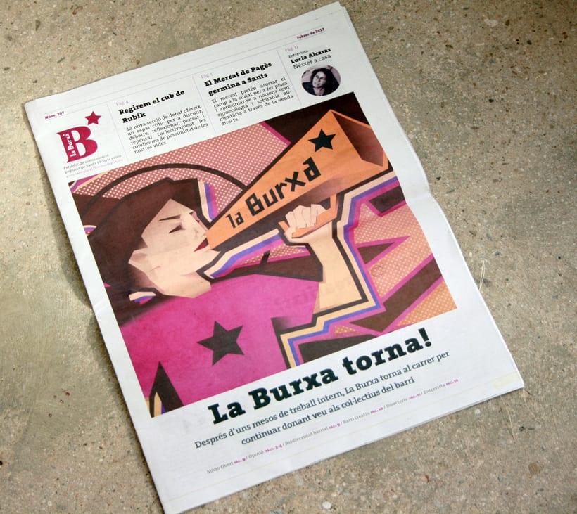 """Ilustración para periódico cultural-reivindicativo """"La Burxa"""", Barcelona. 3"""