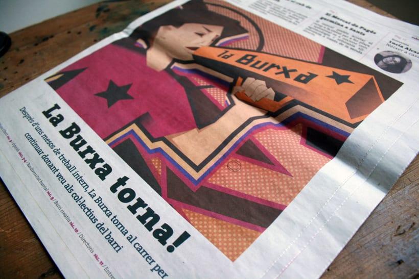 """Ilustración para periódico cultural-reivindicativo """"La Burxa"""", Barcelona. 4"""