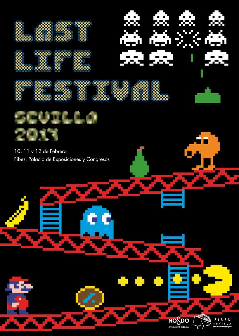 Diseño cartel festival de videojuegos retro ficticio -1