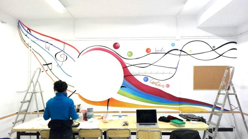 """TH, ya hemos terminado uno de nuestros proyectos de pintura mural con """"Proyecto cometa"""" en la Parroquia La Paz del distrito norte de Granada.(Painting process) 9"""