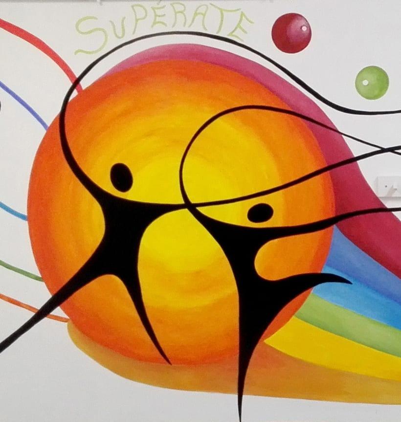 """TH, ya hemos terminado uno de nuestros proyectos de pintura mural con """"Proyecto cometa"""" en la Parroquia La Paz del distrito norte de Granada.(Painting process) 12"""