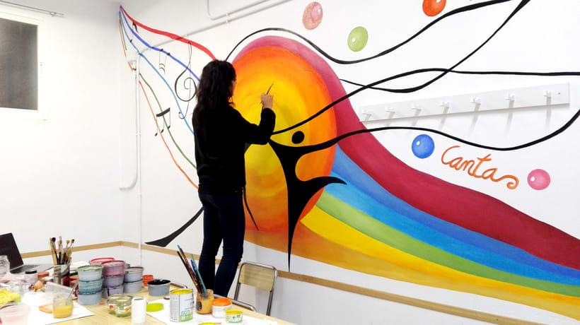 """TH, ya hemos terminado uno de nuestros proyectos de pintura mural con """"Proyecto cometa"""" en la Parroquia La Paz del distrito norte de Granada.(Painting process) 10"""