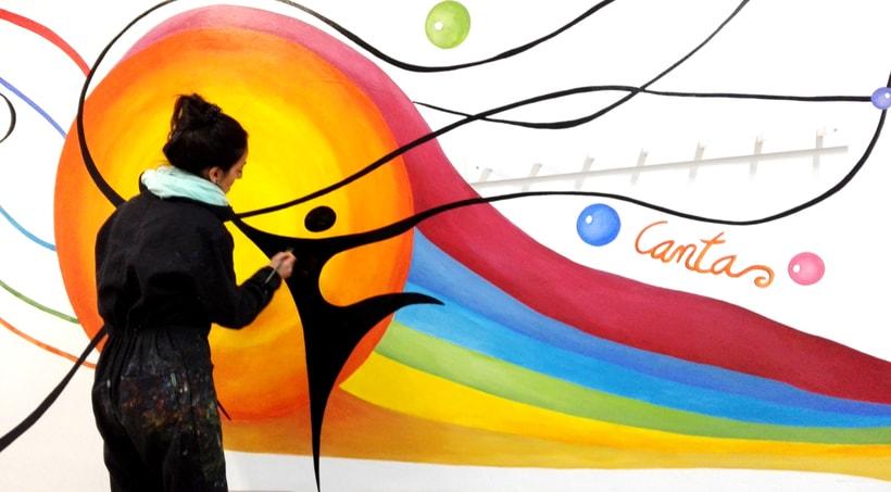 """TH, ya hemos terminado uno de nuestros proyectos de pintura mural con """"Proyecto cometa"""" en la Parroquia La Paz del distrito norte de Granada.(Painting process) 11"""