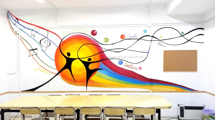 """TH, ya hemos terminado uno de nuestros proyectos de pintura mural con """"Proyecto cometa"""" en la Parroquia La Paz del distrito norte de Granada.(Painting process) 13"""