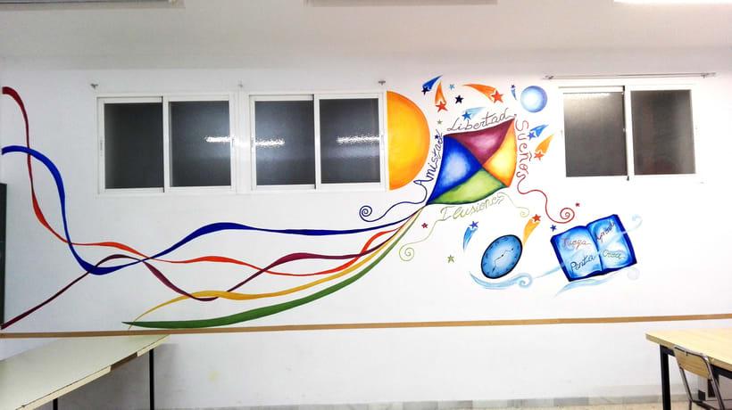 """TH, ya hemos terminado uno de nuestros proyectos de pintura mural con """"Proyecto cometa"""" en la Parroquia La Paz del distrito norte de Granada.(Painting process) 14"""