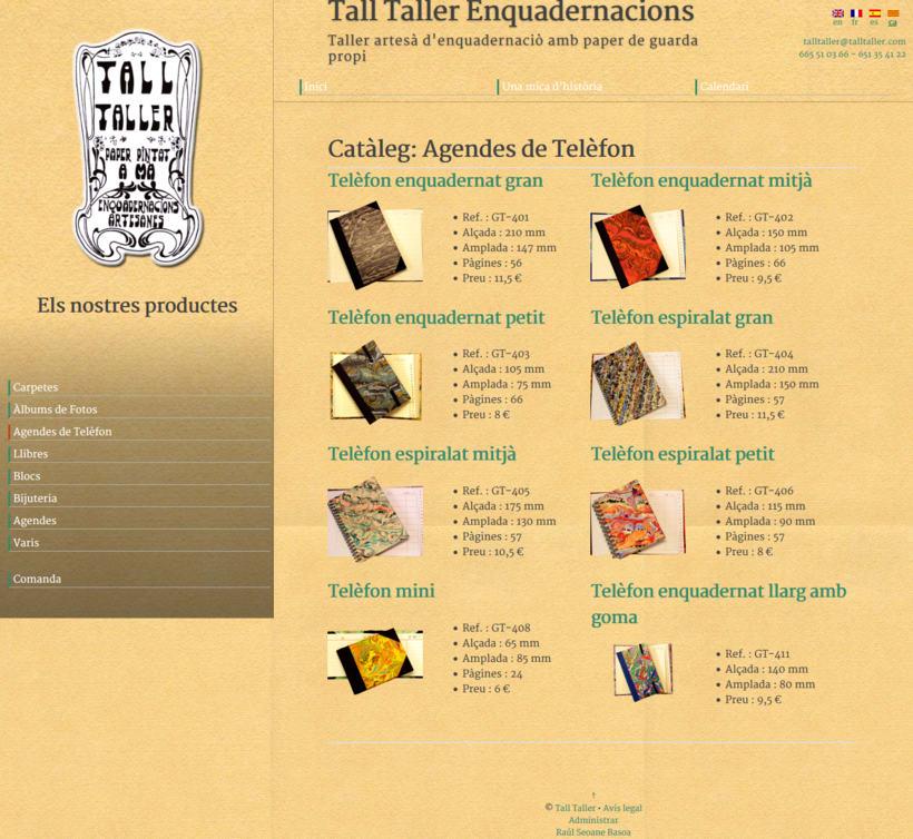 Web con catálogo de productos para Tall Taller 2