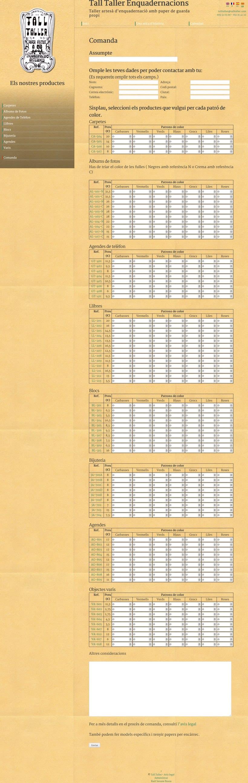Web con catálogo de productos para Tall Taller 3