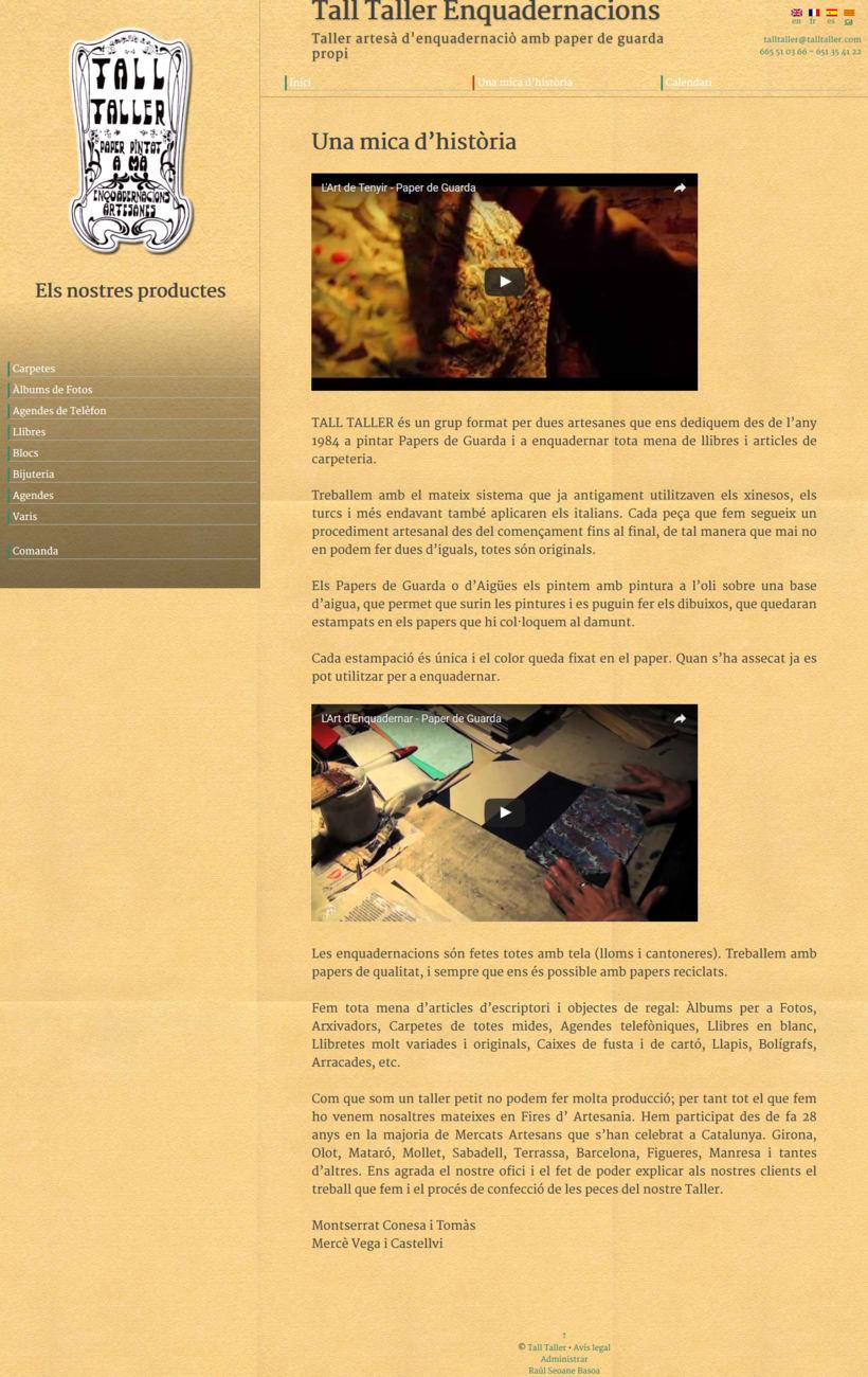 Web con catálogo de productos para Tall Taller 4