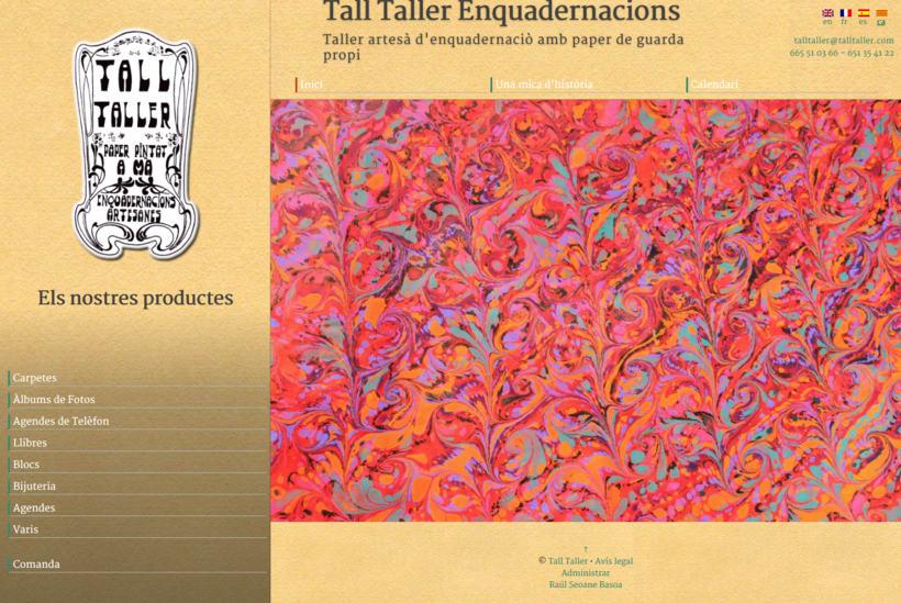 Web con catálogo de productos para Tall Taller 0