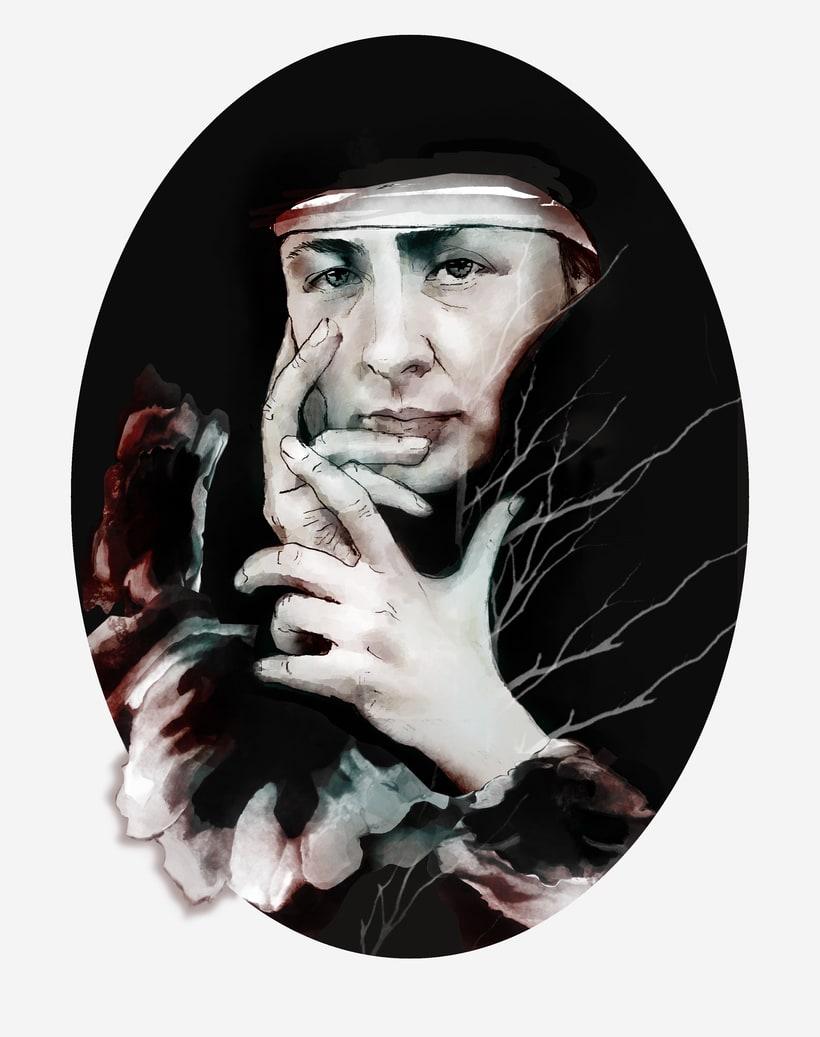 Retrato ilustrado con Photoshop de Georgia O'keeffe 0