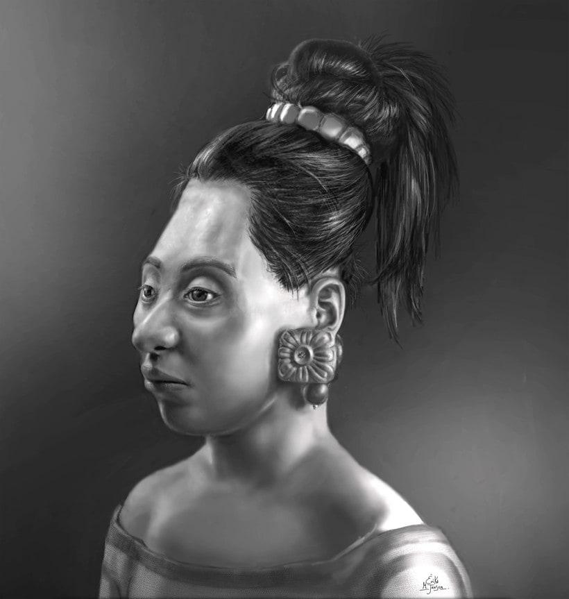 Reconstrucción artística forense del rostro de una adolescente maya sacrificada y un joven de cuerpo entero -1