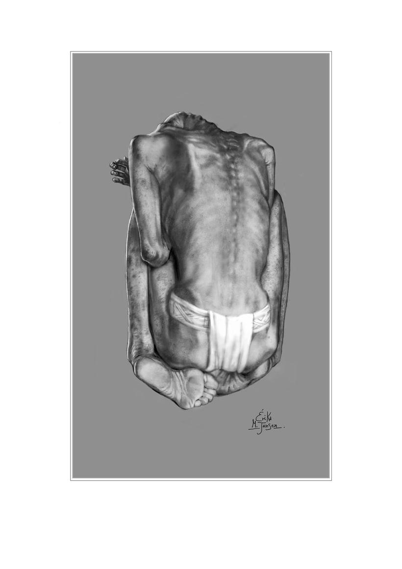 Reconstrucción artística forense del rostro de una adolescente maya sacrificada y un joven de cuerpo entero 0