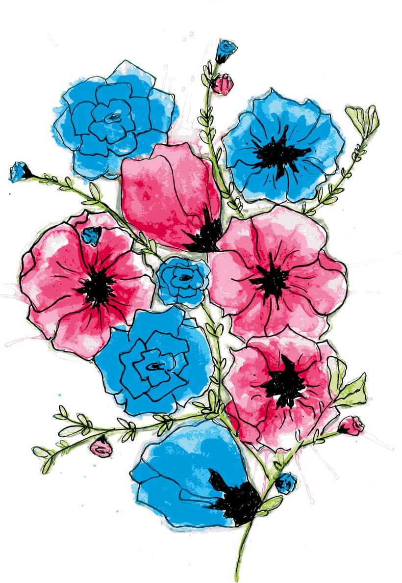 Ilustración para producto, motivo floral y tipografía -1