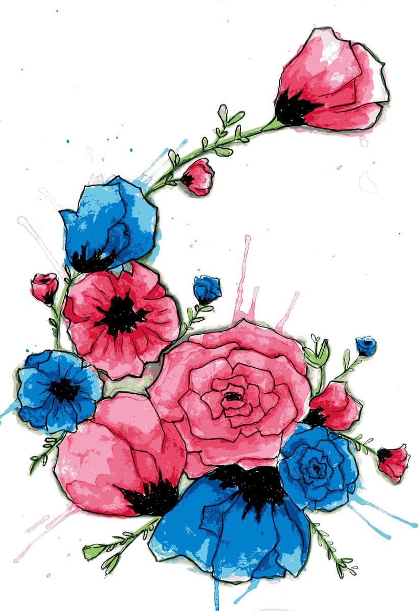 Ilustración para producto, motivo floral y tipografía 0