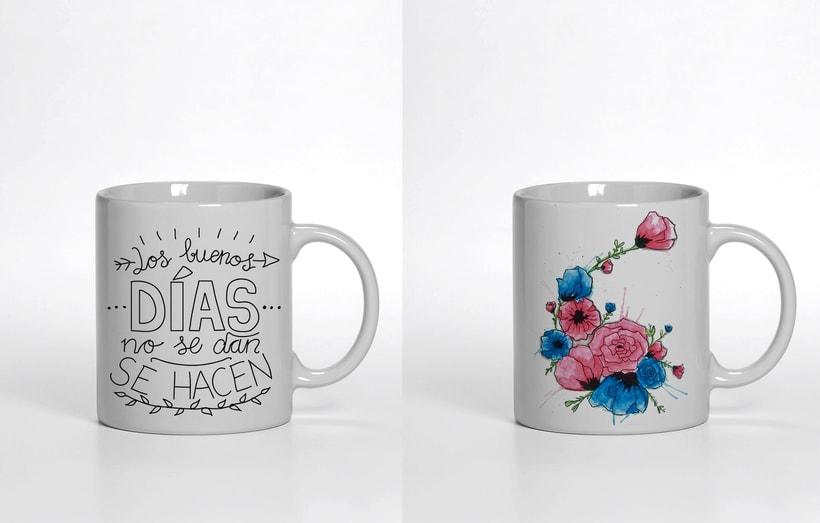 Ilustración para producto, motivo floral y tipografía 1