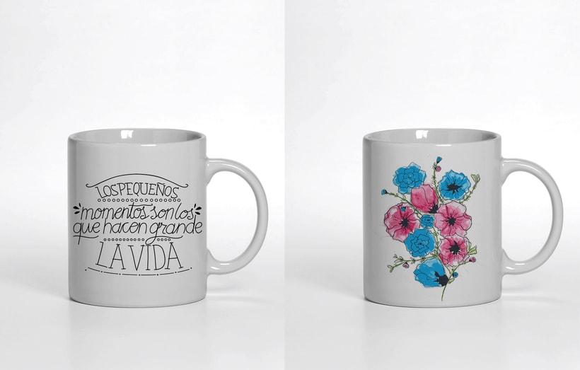 Ilustración para producto, motivo floral y tipografía 2