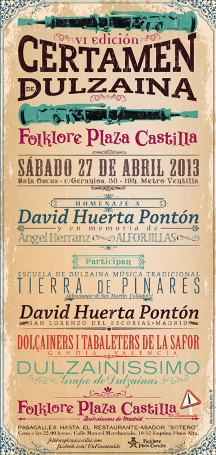 Carteles Certamen de dulzaina y tambor Folklore Plaza Castilla 4