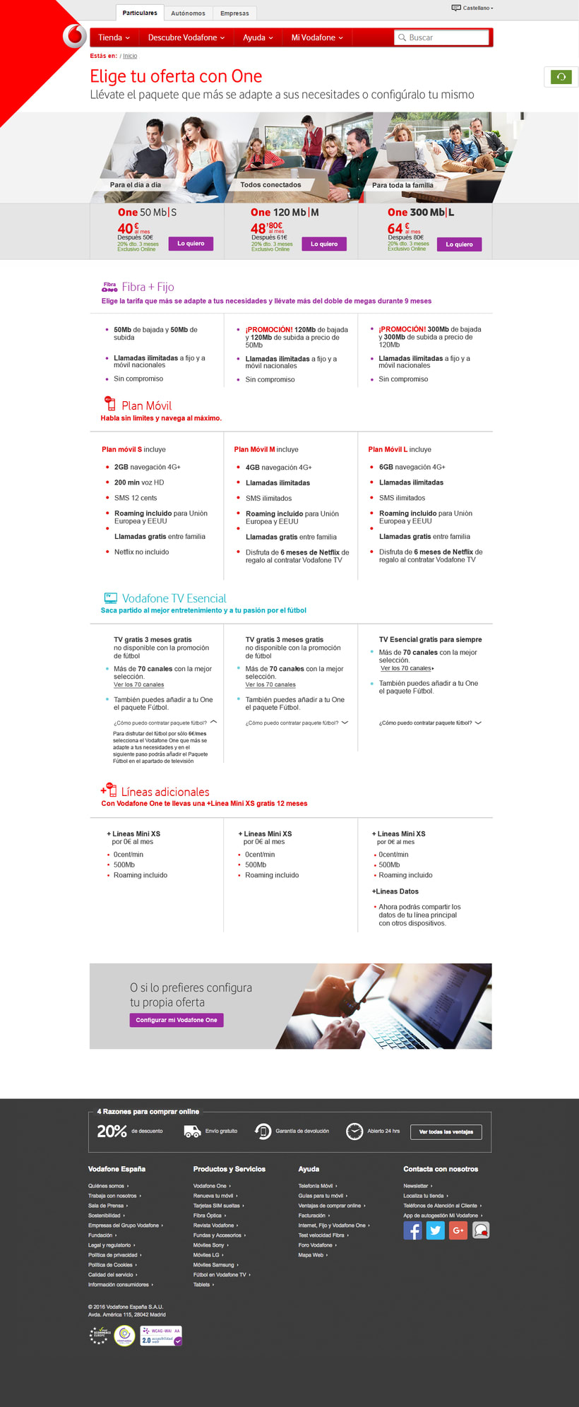 Vodafone Web design - Comparador de Oferta 1