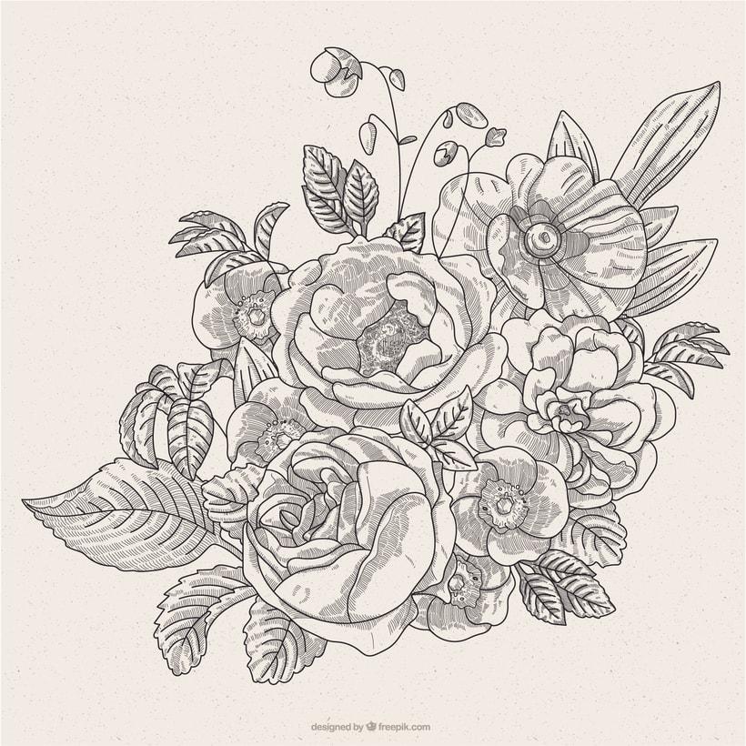 Ilustración vectorial fondo floral 1