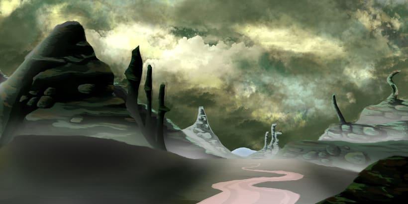 Mi Proyecto del curso: Matte Painting: creando mundos fotorrealistas; Del boceto a La Llama 1