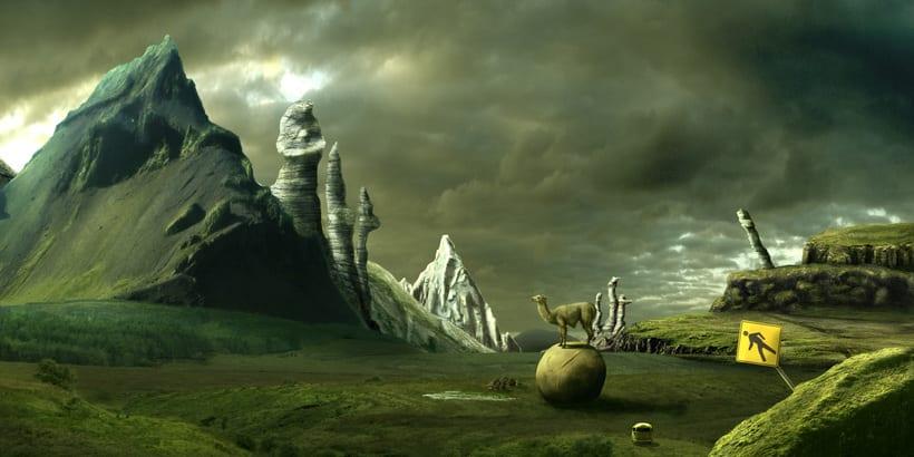 Mi Proyecto del curso: Matte Painting: creando mundos fotorrealistas; Del boceto a La Llama 4