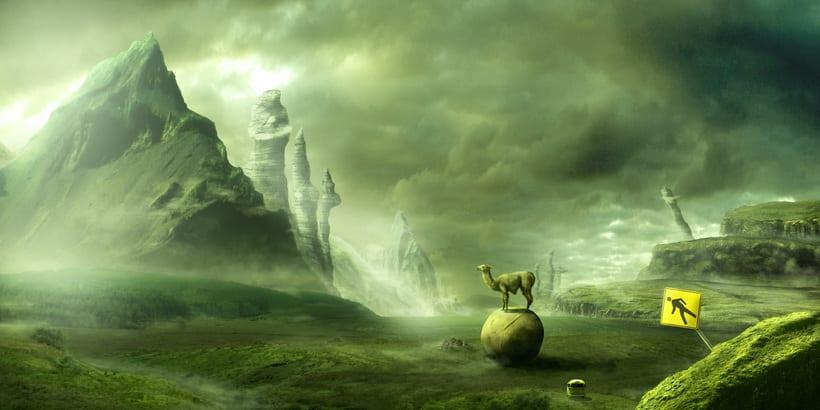 Mi Proyecto del curso: Matte Painting: creando mundos fotorrealistas; Del boceto a La Llama 5