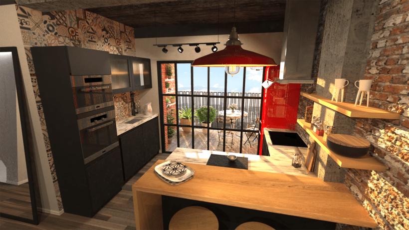 Cocina terraza reforma de piso en madrid domestika for Cocinas en terrazas