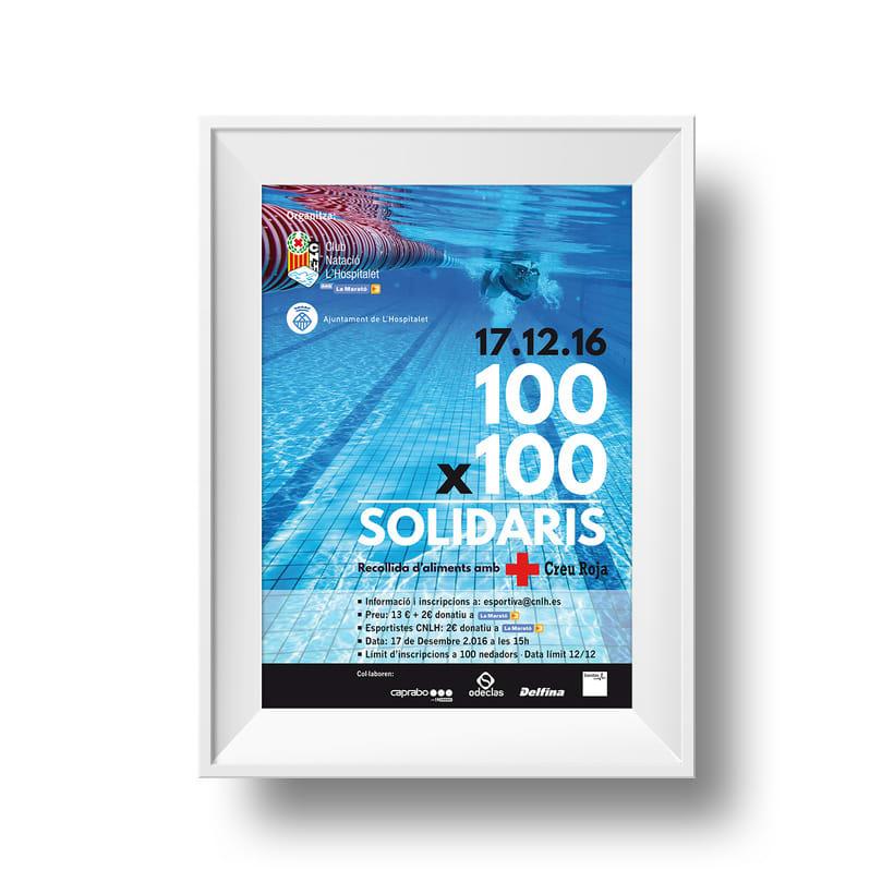 Cartelería diseñada para el evento '100x100 Solidaris' organizado por el Club Natació L'Hospitalet, para la recogida de fondos y de alimentos en colaboración con la Cruz Roja y la Marató de TV3 -1
