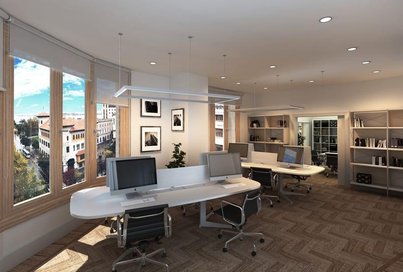 Infografías 3D para proyecto de interiorismo en oficinas del edificio La Polar, Santander 0