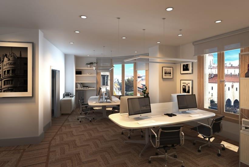 Infografías 3D para proyecto de interiorismo en oficinas del edificio La Polar, Santander 1