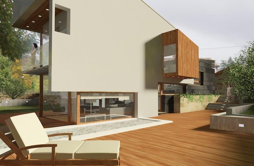 Infografías 3D para vivienda unifamiliar en Las fraguas, Cantabria -1
